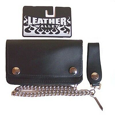 Biker Wallet plain black,Leather bike wallet with chain and coin compartment new