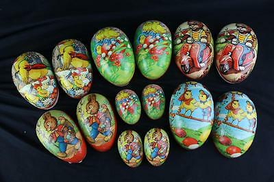Lot (7) Rare Vintage Paper Mache Easter Egg Candy Containers Western Germany