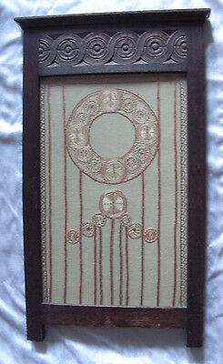 Antique Fireplace Screen - Dark Carved wood embroidery - Spanish / Mission style