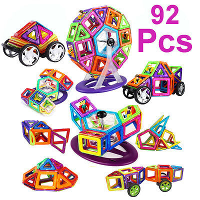 92 PCS All Magnetic Toys Magspace Magformers Dolls Building Construction Blocks