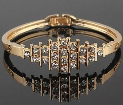 Stunning 18K Yellow Gold Plated Clear Austrian  Crystals Bracelet Bangle Gift