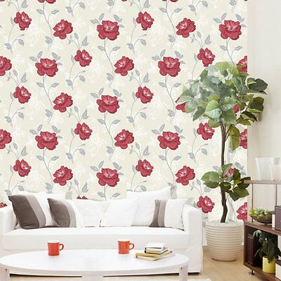 Millie Floral Flower Red White Cream Silver Leaf Crown Feature Wallpaper M0880