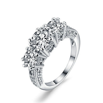 Womens Wedding PARTY Silver Crystal Rhinestone Jewelry Finger Ring Size 6-9 EY7