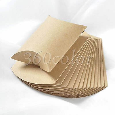 1 -100pcs Kraft Paper Pillow Brown Gift Boxes Candy Box Wedding Party Favors Bag