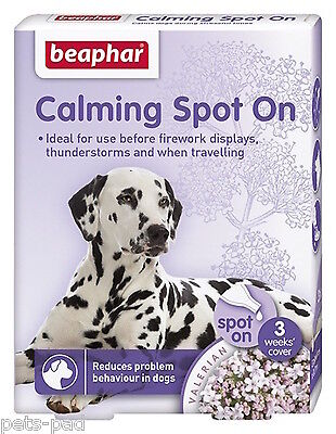 Calming Spot On for Dogs, Calms, Reduces problem behaviour, Travelling, Vets
