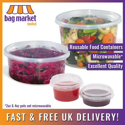 Clear Round Food Containers & Lids!   Plastic/Dip/Pot/Tub/Deli/Takeaway/Storage