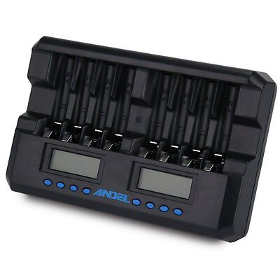 ANDEL 8 Slot Smart LCD Charger for Rechargeable AA AAA NIMH Ni-Cd Batteries