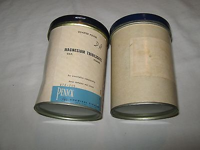 Rx , Pharmacy , Pharmaceutical Powder , Tin Cardboard Container , Lot of 2
