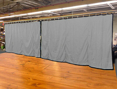 Lot of (2) New!! Silver Curtain/Stage Backdrop, Non-FR, 9 H x 20 W