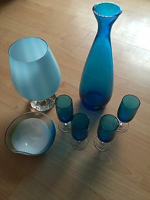 Collection Car Boot Job lot Vintage Blue Glass Polish Decanter Glasses