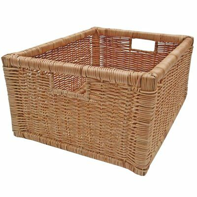 Wicker Shelf Drawer Rattan Storage Basket, Kitchen Bedroom Hamper Display - Fern