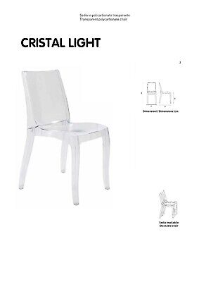 Sedia Cristal Light Up On    Policarbonato  Trasparente  In 3 Colori Impilabile