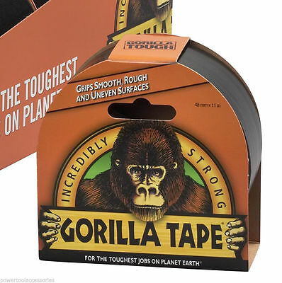 Gorilla Tape 11m - Strong, Adhesive & Waterproof DUCT Tape Gaffer Black Tape