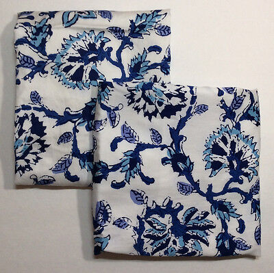 B Smith Greyton Blue White 2 Pillow Shams Standard Paisley Floral French Country