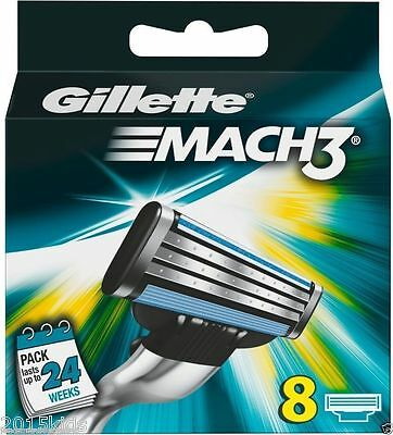 Gillette Mach3 Pack Of 8 Cartridges Shaving Blades For Razor New Mach 3 USA Sell