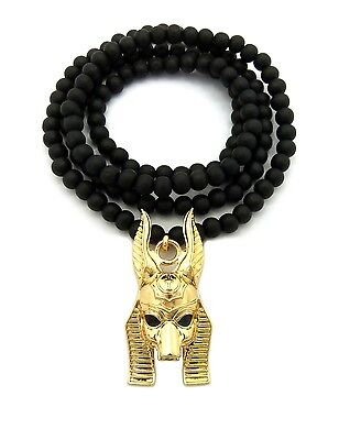 "NEW ANCIENT EGYPT GOD ANUBIS PENDANT 6mm/30"" WOODEN BEAD CHAIN NECKLACE RC1872"