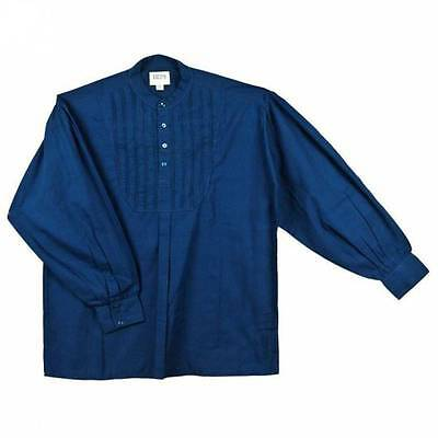 19th Century Blue  Dress Shirt Mens Cotton Pullover Rendezvous Fur Trade