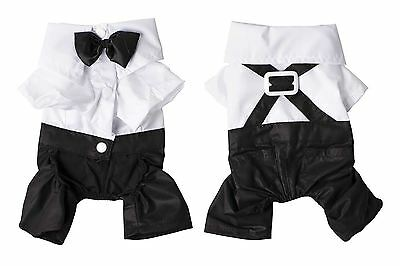Dog Pet Puppy Clothes Tuxedo Shirt Suit Bow Tie Stylish Wedding Apparel
