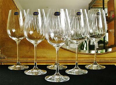"""Boxed set of 6 high quality Bohemia Crystal """"Cascade"""" Wine glasses. NEW"""