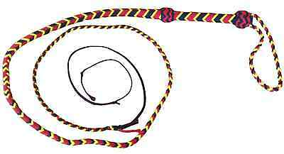 6 foot 16 plait RED, BLACK and YELLOW NYLON  REAL bull whip shot loaded   #SNY44