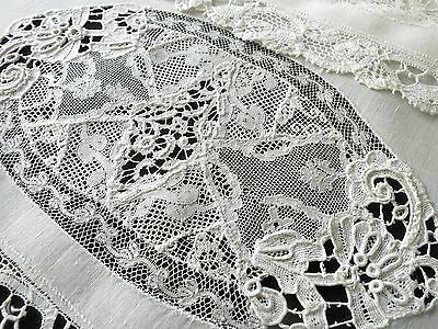 OVERSIZED Set 8 Antique NORMANDY LACE Linen Napkins Renaissance Edge 20x25 ~RARE