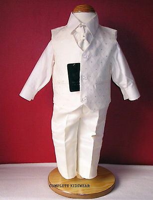 Boys Ivory 4 Piece Suit Wedding Pageboy Formal Occasion Party 9-12 Months