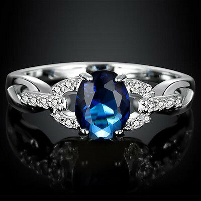 Charming Jewelry Sapphire Gemstone 925 Sterling Silver Ring Wedding Size 5-12