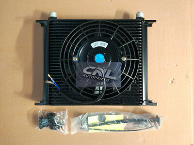 """UNIVERSAL 30 ROW 10AN Transmission OIL COOLER + 7"""" ELECTRIC COOLING FAN"""