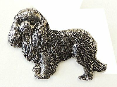 King Charles Spaniel Brooch, Silver Plated