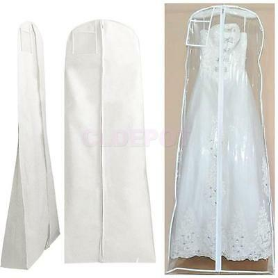 Wedding Bridal Dress Garment Gown Cover Suit Protector Zip Bag Clear/white