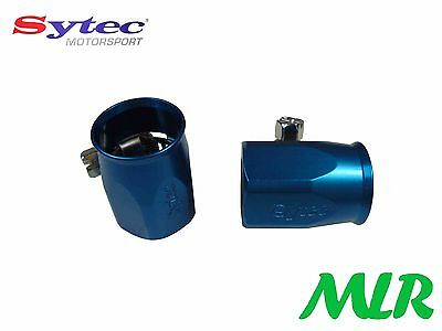 Sytec Dash 6 -6 Blue Braided Fuel Hose Finishers Pair Clips For 8Mm Id Pipe Gp