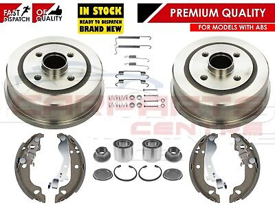 For Vauxhall Corsa C Mk2 00- Rear Brake Drums Shoes Fitting Bearing Kit With Abs