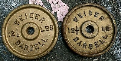 Vintage Weider 12.5 lb Weight Plates 2x12.5 pounds Hard To Find Size Standard