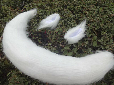 White Long Fur Ears Fox tail Kiss Kamisama Hajimemashita cosplay props anime