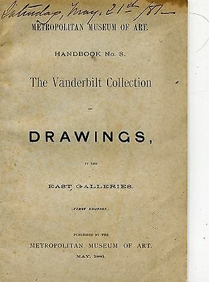1881 Metropolitan Museum of Art The Vanderbilt Collection Drawings Softcover