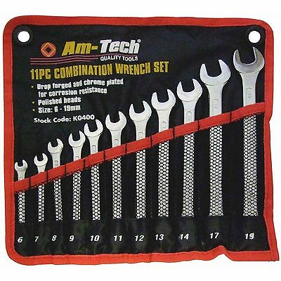 Am-Tech 11PC Combination High Quality Spanner Set 6 7 8 9 10 11 12 13 14 17 19mm