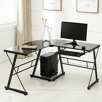 L-Shape Corner Computer Desk PC Glass Laptop Table Workstation Home Office Black