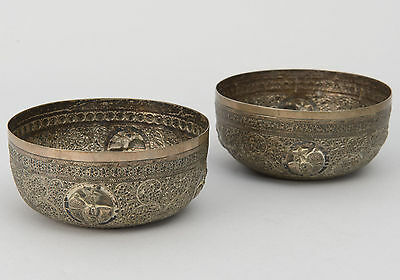 Pair Antique Indian Colonial White Metal Repousse Bowls with Elephants