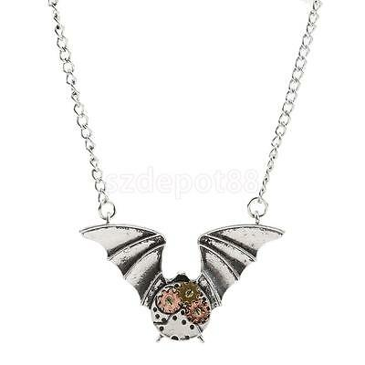 Vintage Steampunk Gear Bat Pattern Pendant Chain Necklace Victorian Jewelry