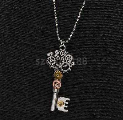 Classic Steampunk Gear Key Pattern Pendant Necklace Unisex Gothic Accessory