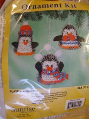 Playful Penguins Ornaments Sequin Bead Craft Kit (Makes 3 of 2.5 x 3.5 Inches)