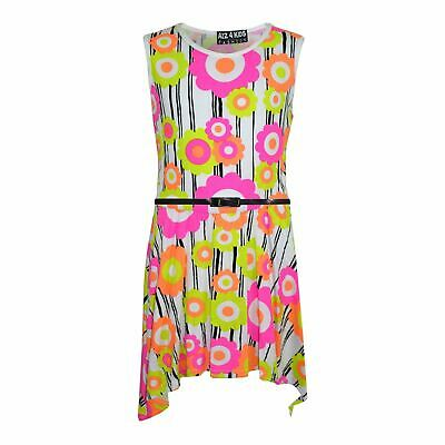 Girls Skater Dress Kids Neon Floral Print Summer Party Dresses Age 7-13 Years