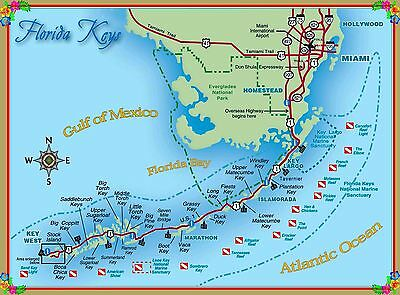 America Map Florida.Map Of The Florida Keys United States America Travel Advertisement Poster