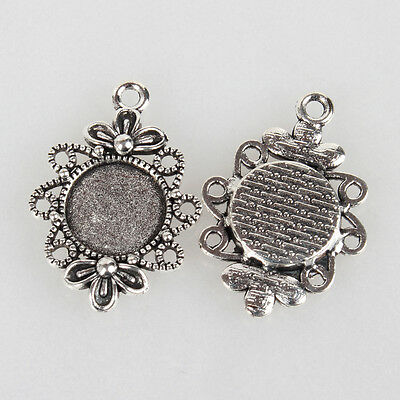 10 pcs Pendant Charm Blanks 12mm Round Trays Antique Silver Buy settings or kit
