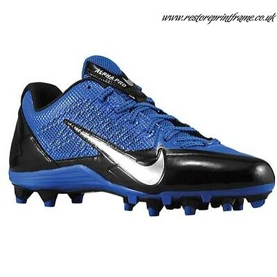 new mens 11.5 nike alpha pro TD football/lacrosse cleats royal/black-silver