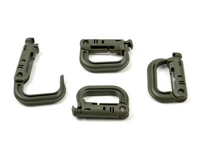 4pc Molle Tactical Hiking Clip Carabiner Locking D-Ring Hook Safety Buckle New
