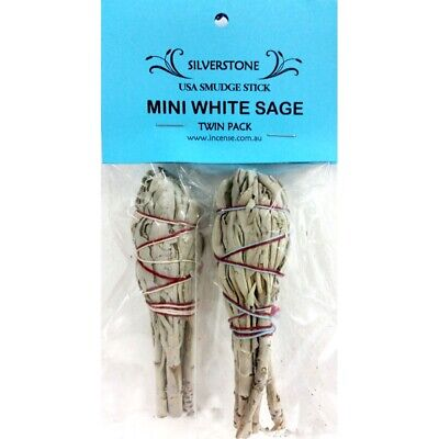 Mini White Sage Smudge Sticks- Twin Pack - Smudging Clearing Ritual House Herbs