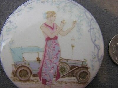 Deco Style Auto Antique Car Flapper Dress Porcelain Enamel Disk Finding Craft