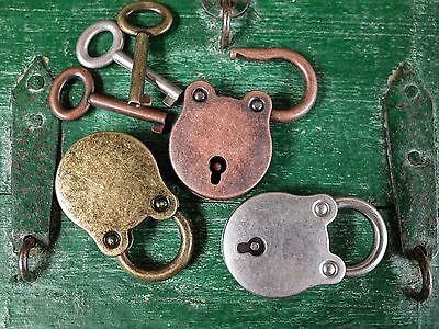 Old Vintage Antique Style Padlock Key Lock (Assorted Color) Lot of 3 - NEW