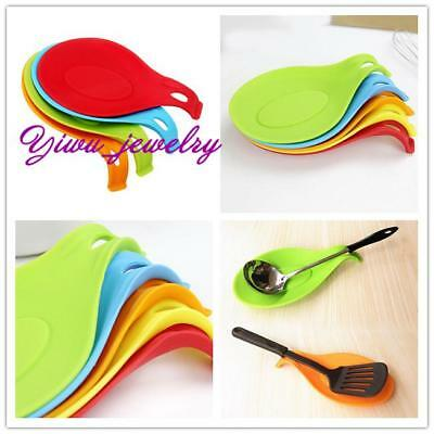 Silicone Heat Resistant Spoon Rest Stand Holder Fork Mat Kitchen Tools Hanging Z